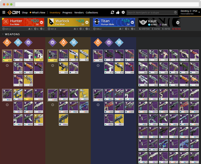 Browser running Destiny Item Manager